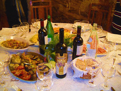 Table Wine Mixed Media - Dinner With Wine by Garland Johnson
