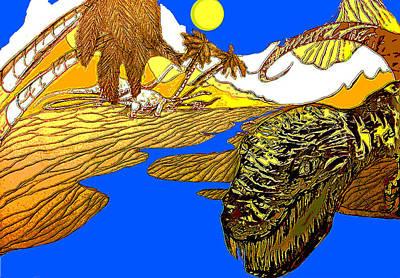 Pow Mixed Media - Dino Island  by Jazzboy