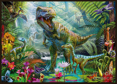 Dino Jungle Scene Art Print
