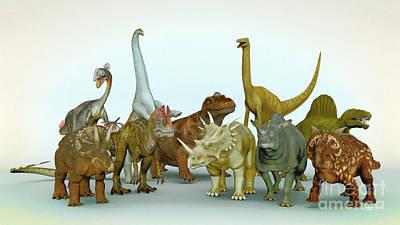 Dino Meeting Print by Jutta Maria Pusl
