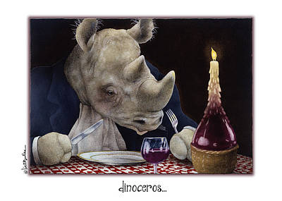 Red Wine Painting - Dinoceros... by Will Bullas
