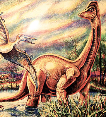 Art Print featuring the drawing Dinos by Linda Shackelford