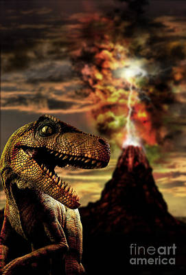Computer Generated Art Photograph - Dinosaur And Volcano by Mike Agliolo
