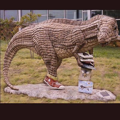 Faducci Sculpture - Dinosaur At The Northwest Library In Oklahoma City Ok by Faducci- Solomon Bassoff Domenica Mottarella