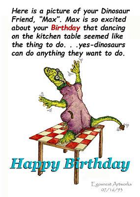Painting - Dinosaur Dances On Birthday by Michael Shone SR
