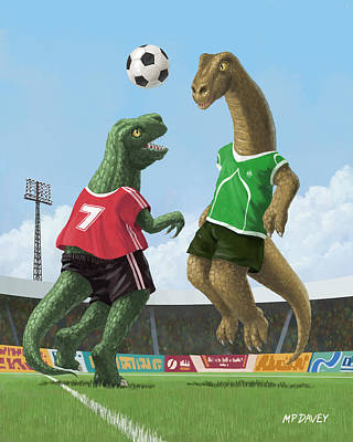 Kids Sports Art Painting - Dinosaur Football Sport Game by Martin Davey