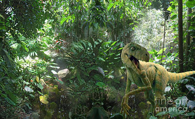 Computer Generated Art Photograph - Dinosaur In Jungle by Mike Agliolo
