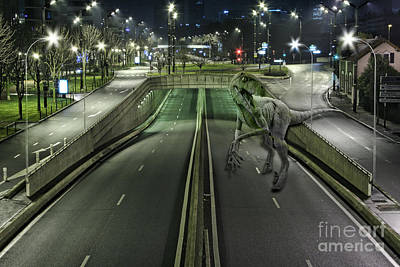 Computer Generated Art Photograph - Dinosaur In The Street by Mike Agliolo