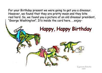 Painting - Dinosaur Kids Birthday by Michael Shone SR