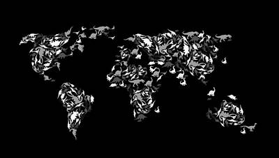 Typography Map Photograph - Dinosaur Map Of The World 3 by Mark Ashkenazi