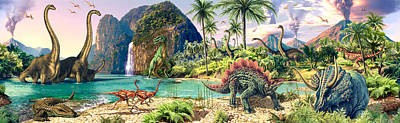 Dinosaur Volcanos Art Print by Steve Read