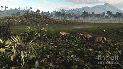 Parasaurolophus Digital Art - Dinosaurs Graze The Lush Delta Lands by Arthur Dorety