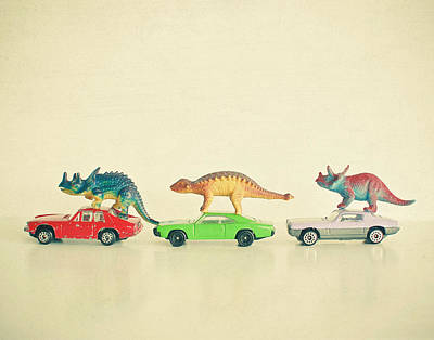Dinosaurs Ride Cars Art Print by Cassia Beck
