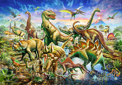 Dinoscene   Art Print by Adrian Chesterman