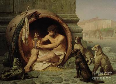 Oil Lamp Painting - Diogenes by Jean Leon Gerome