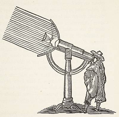Stargazing Drawing - Dioptric Telescope by French School