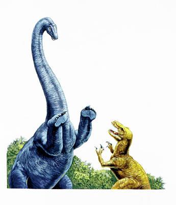 Paleozoology Photograph - Diplodocus Defending Itself by Deagostini/uig