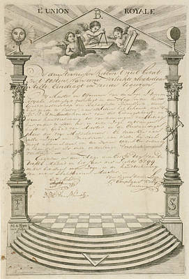 Diploma Drawing - Diploma Of The Masonic Lodge Lunion Royale In The Hague by Artokoloro