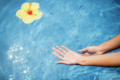 Dipping Hands In The Water Art Print by Judi Angel