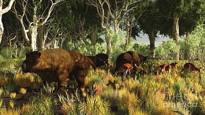 Diprotodon On The Edge Of A Eucalyptus Art Print by Arthur Dorety