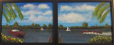 Diptych. Old Tyme Boating Original by David Earl Tucker