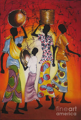 African Village Scene Painting - Directions -cropped by Ted Samuel Mkoweka