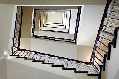 Directly Below Shot Of Spiral Staircase Art Print by Joerg Fockenberg / Eyeem