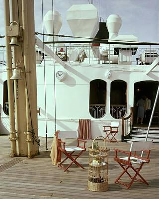 Directors Chairs In Front Of The Ship The Queen Art Print by Tom Leonard
