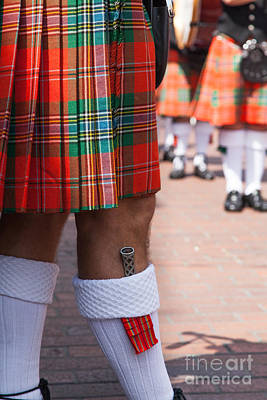Marching Band Photograph - dirk in sock with kilt of scottish bagpipe player in Chichester  by Peter Noyce