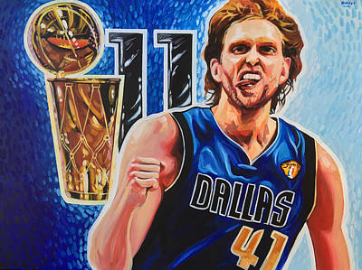 Painting - Dirk Nowitzki by Steve Hunter