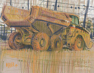 Truck Drawing - Dirt Mover by Donald Maier