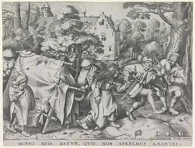 Dirty Bride Or Wedding Of Mopsus And Nisa Art Print by Pieter Van Der Heyden And Hieronymus Cock