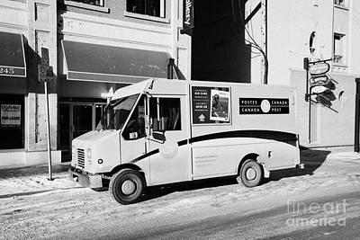 dirty canada post delivery truck on frozen street Saskatoon Saskatchewan Canada Art Print by Joe Fox