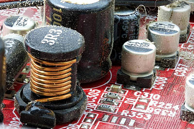 Capacitors Photograph - Dirty Electronic Circuit Board Close Up by Simon Bratt Photography LRPS
