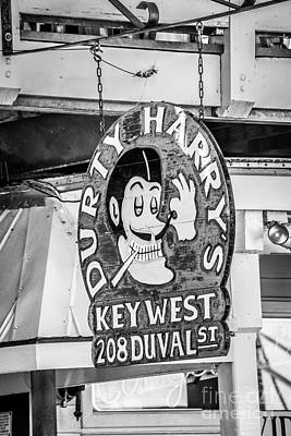 Dirty Harry's Key West - Black And White Art Print