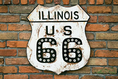 Dirty Illinois Route 66 Sign, Atlanta Art Print by Julien Mcroberts
