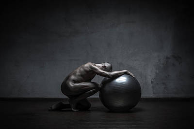 Naked Photograph - Dirty Naked Man Kneeling With Gymball by Paolomartinezphotography