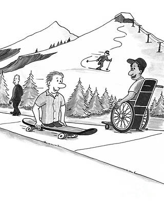 Skiing Action Drawing - Disability Ability by Lee Serenethos