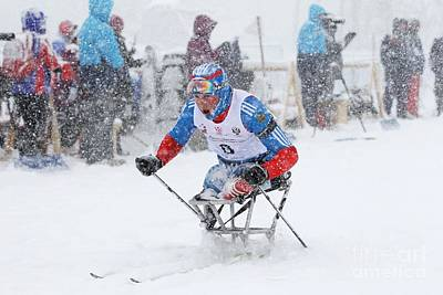 Disabled Sports Photograph - Disabled Athlete Skiing In Biathlon by Ria Novosti