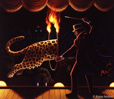 Magician Drawing - Disappearing Leopard by Robin Moline