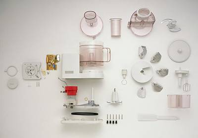 Large Group Of Objects Photograph - Disassembled Food Processor by Dorling Kindersley/uig