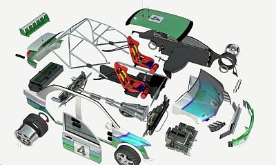Disassembled Parts Of A Racing Car Art Print by Dorling Kindersley/uig
