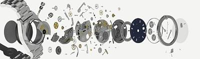 Disassembled Parts Of A Wristwatch Print by Dorling Kindersley/uig