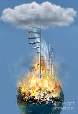 Disaster Earth Stairs Cloud Print by Mike Agliolo