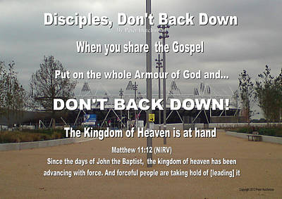 Disciples Dont Back Down Art Print by Bible Verse Pictures