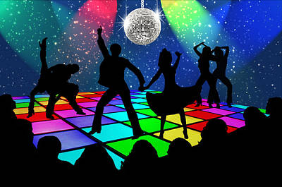 Art Print featuring the digital art Disco Fever by Nina Bradica