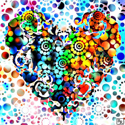Hgtv Painting - Disco Heart by Robert R Splashy Art Abstract Paintings