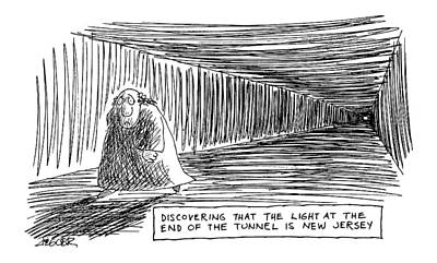 Traffic Drawing - Discovering That The Light At The End by Jack Ziegler