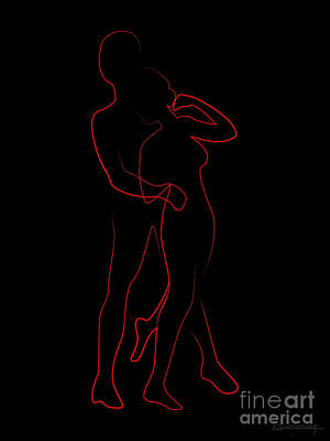 Black Sex Drawing - Discrete Lines Of Embrace by Christian Simonian