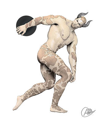 Satyr Drawing - Discus Thrower Satyr by Quim Abella
